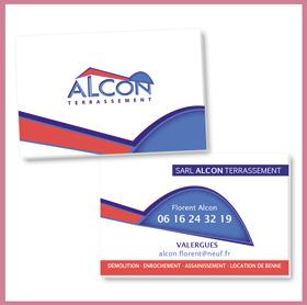 Création du logo Alcon Terrassement, cartes de visite, tête de lettre