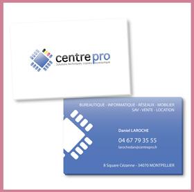 Création du logo Centre Pro, cartes de visite, solution informatique et bureautique