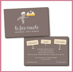 Création du logo La Fine Mouche, cartes de visite, bar à fromage, fromagerie