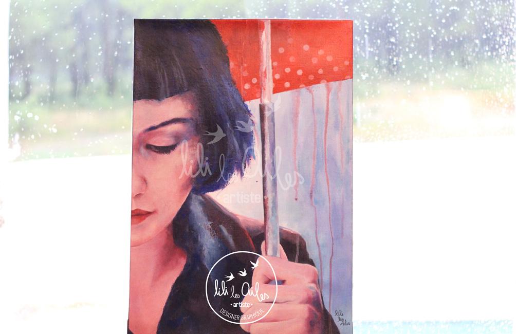 Acrylique sur toile : Audrey Tautou sous la pluie, parapluie