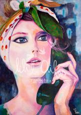 Acrylique sur toile - portrait vintage féminin