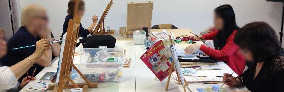 Atelier cours de peinture, pastel, aquarelle, acrylique, huile